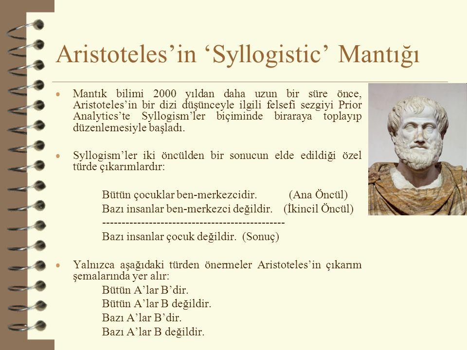 Aristoteles'in 'Syllogistic' Mantığı  Mantık bilimi 2000 yıldan daha uzun bir süre önce, Aristoteles'in bir dizi düşünceyle ilgili felsefi sezgiyi Prior Analytics'te Syllogism'ler biçiminde biraraya toplayıp düzenlemesiyle başladı.