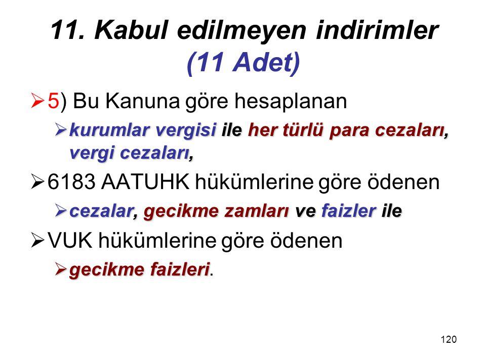 119 11. Kabul edilmeyen indirimler (11 Adet)  4) Her ne şekilde ve ne isimle olursa olsun ayrılan  yedek akçeler dahil  (Türk Ticaret Kanununa, kur