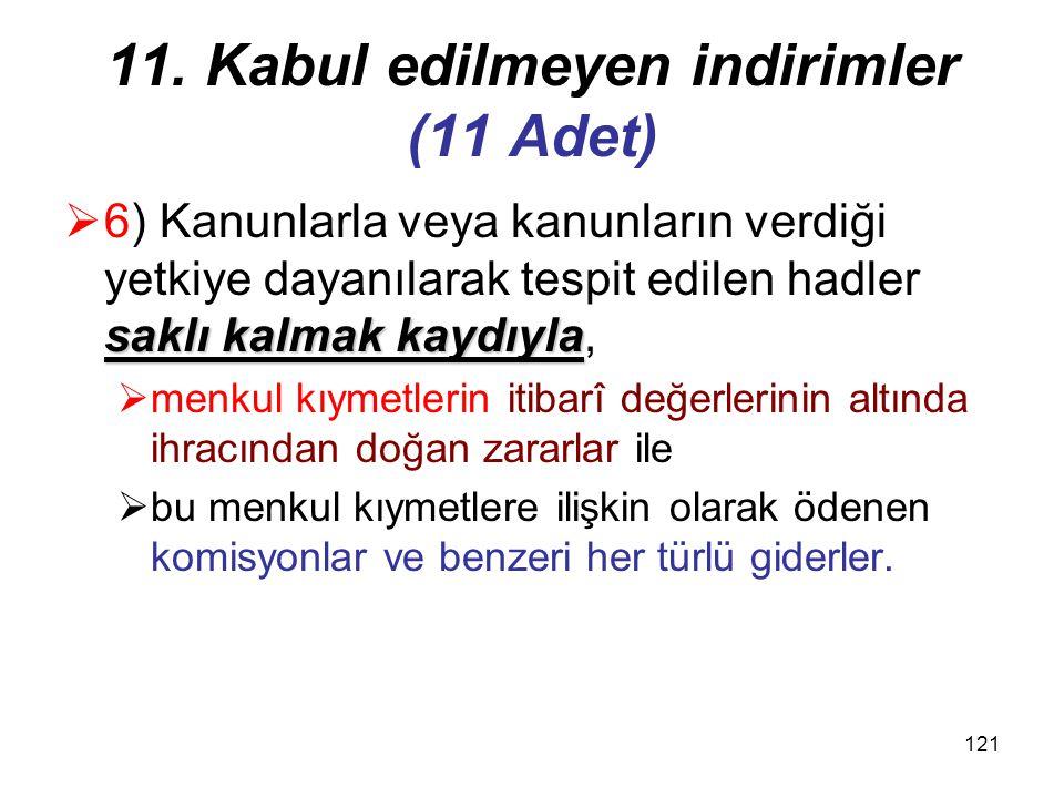120 11. Kabul edilmeyen indirimler (11 Adet)  5) Bu Kanuna göre hesaplanan  kurumlar vergisi ile her türlü para cezaları, vergi cezaları,  6183 AAT