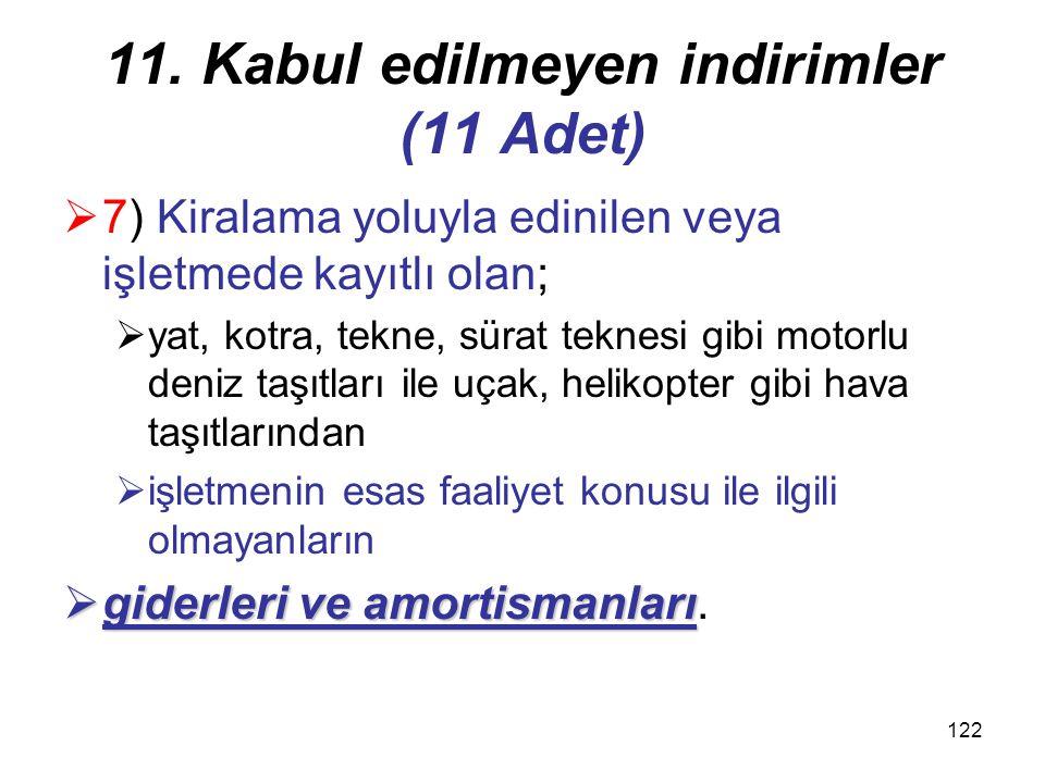 121 11. Kabul edilmeyen indirimler (11 Adet) saklı kalmak kaydıyla  6) Kanunlarla veya kanunların verdiği yetkiye dayanılarak tespit edilen hadler sa