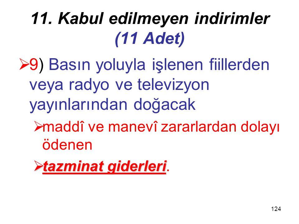 123 11. Kabul edilmeyen indirimler (11 Adet) hariç  8) Sözleşmelerde ceza şartı olarak konulan tazminatlar hariç olmak üzere  kurumun kendisinin, or