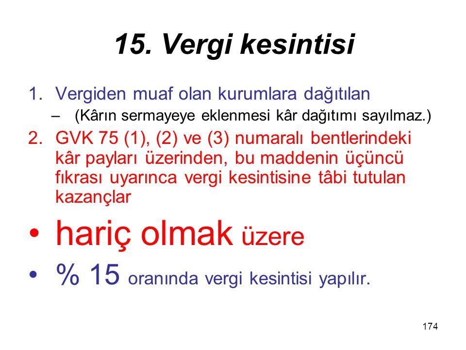 173 Vergi Kesintisi 7 Birinci fıkranın (c) bendinde yer alan menkul kıymetlerin geri alım veya satım taahhüdü elde edilmesigeri alım veya satım taahhüdü ile elde edilmesi veya elden çıkarılmasından sağlanan gelirler.