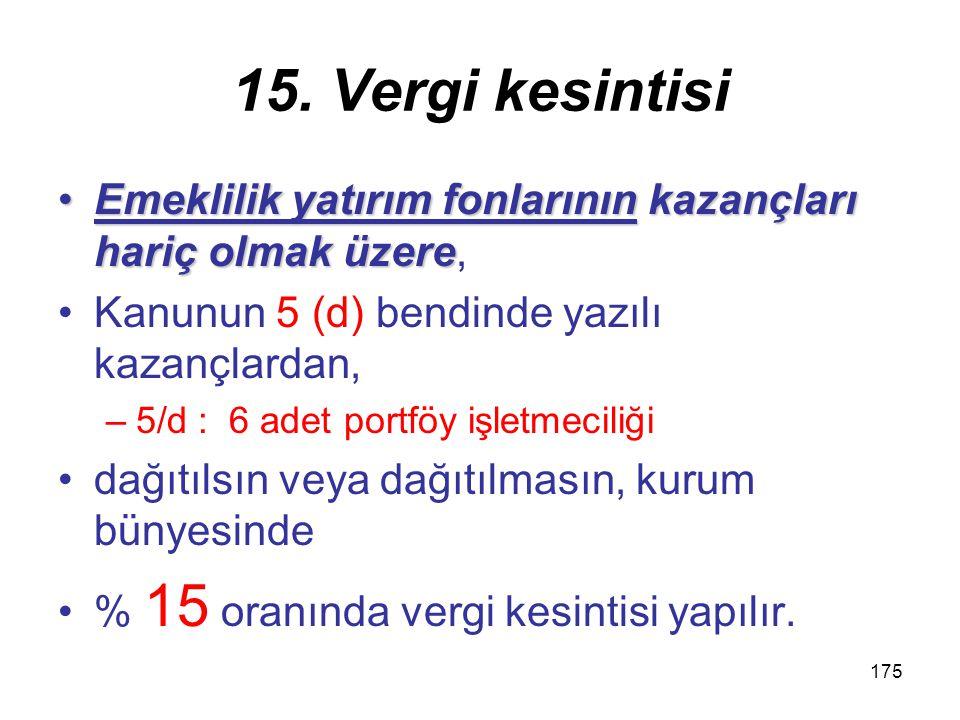 174 15. Vergi kesintisi 1.Vergiden muaf olan kurumlara dağıtılan –(Kârın sermayeye eklenmesi kâr dağıtımı sayılmaz.) 2.GVK 75 (1), (2) ve (3) numaralı