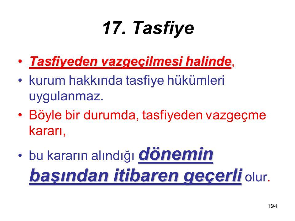 193 17. Tasfiye tarh zamanaşımıBir yıldan fazla süren tasfiyelerde tarh zamanaşımı, tasfiyeninsona erdiği dönemi izleyen yıldantasfiyenin sona erdiği