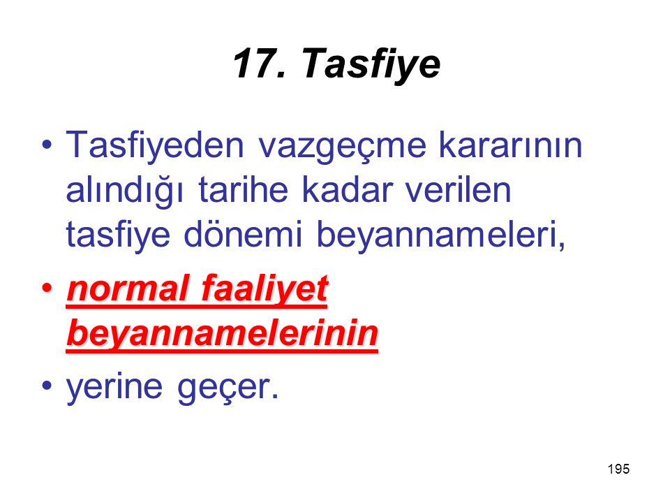 194 17. Tasfiye Tasfiyeden vazgeçilmesi halindeTasfiyeden vazgeçilmesi halinde, kurum hakkında tasfiye hükümleri uygulanmaz. Böyle bir durumda, tasfiy