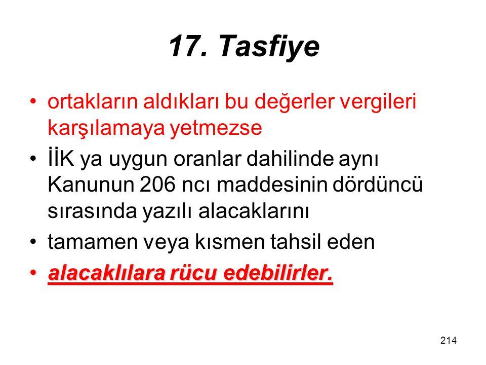 213 17. Tasfiye Tasfiye memurları, bu madde gereğince ödedikleri vergilerin asıllarından dolayıödedikleri vergilerin asıllarından dolayı, yukarıda bel