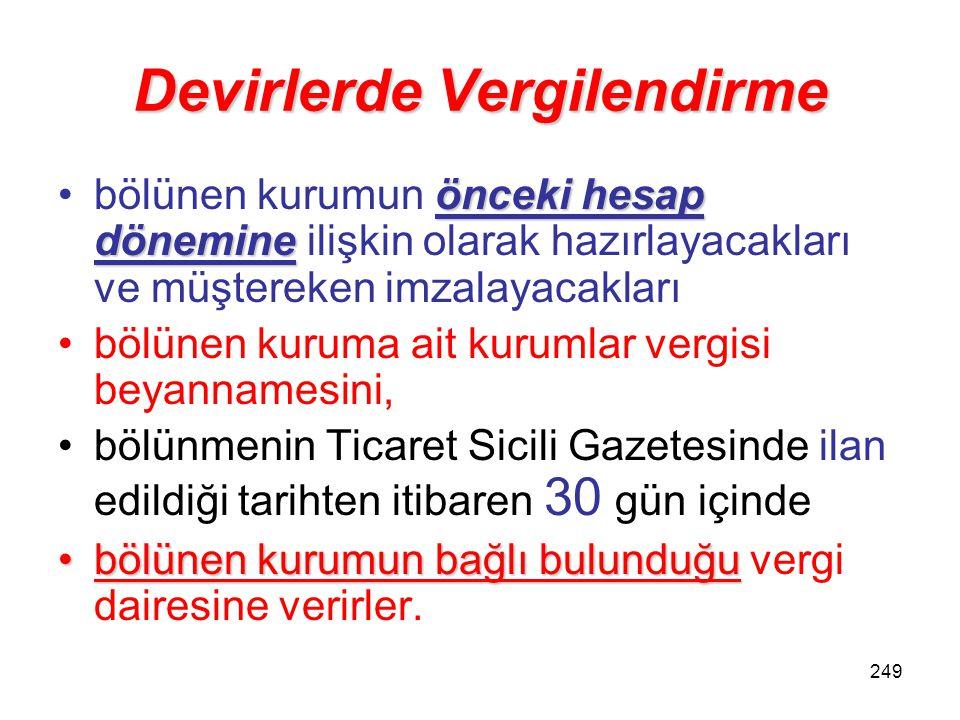 248 Devirlerde Vergilendirme Bölünme işleminin2) Bölünme işleminin –hesap döneminin kapandığı aydan (Aralık) –kurumlar vergisi beyannamesinin verildiğ