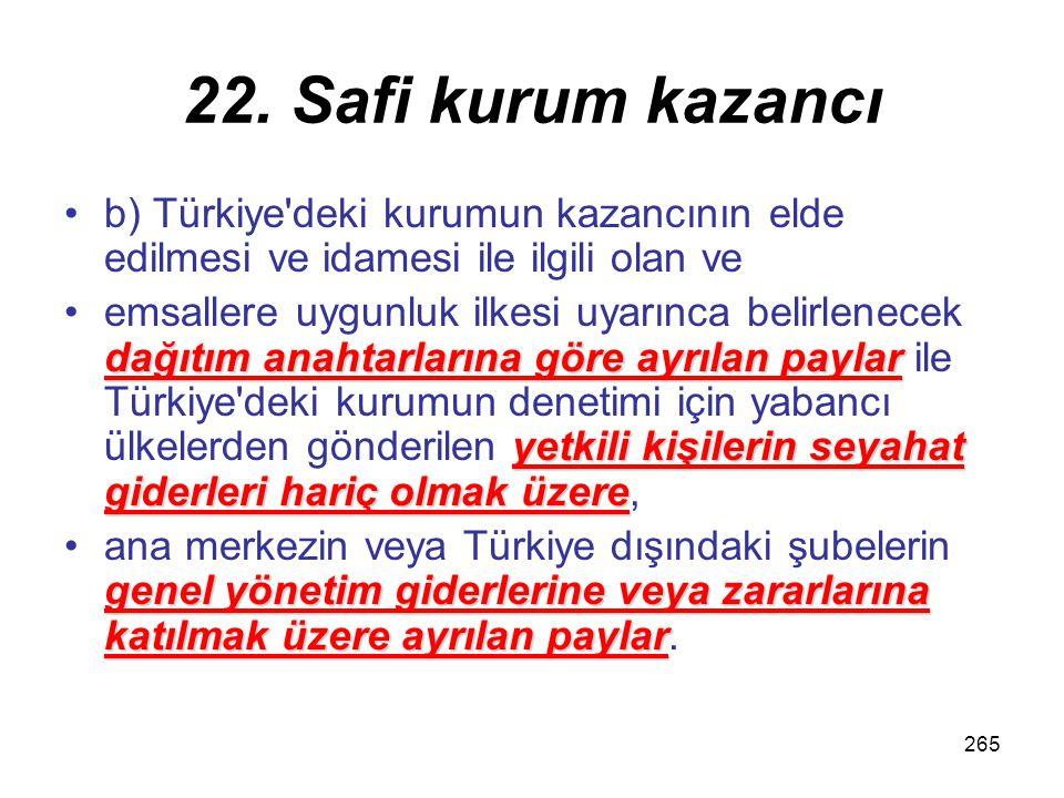 264 22. Safi kurum kazancı a) Bu kurumlar hesabına yaptıkları alım- satımlar için ana merkeze veya Türkiye dışındaki şubelere verilen faizler, komisyo