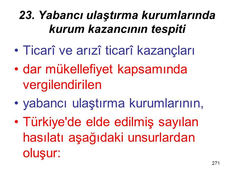 270 23. Yabancı ulaştırma kurumlarında kurum kazancının tespiti Ortalama emsal oranlarıOrtalama emsal oranları, bütün kurumlar içinTürkiye'de daimî ve