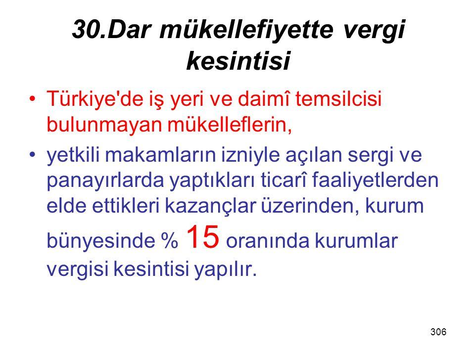 305 5/b (Hatırlatma) b) Kanunî ve iş merkezi Türkiye de bulunmayan anonim ve limited şirket niteliğindeki şirketlerin sermayesine iştirak eden kurumların, bu iştiraklerinden elde ettikleri aşağıdaki şartları taşıyan iştirak kazançları; –1) ödenmiş sermayesinin en az % 10 una sahip olması, –2) Kazancın elde edildiği tarih itibarıyla iştirak payının kesintisiz olarak en az 1 yıl süreyle elde tutulması –3) Yurt dışı iştirak kazancının kâr payı dağıtımına kaynak olan kazançlar üzerinden ödenen vergiler dahil iştirak edilen kurumun faaliyette bulunduğu ülke vergi kanunları uyarınca en az % 15 oranında gelir ve kurumlar vergisi benzeri toplam vergi yükü taşıması; –4) İştirak kazancının, elde edildiği hesap dönemine ilişkin kurumlar vergisi beyannamesinin verilmesi gereken tarihe kadar Türkiye ye transfer edilmesi.