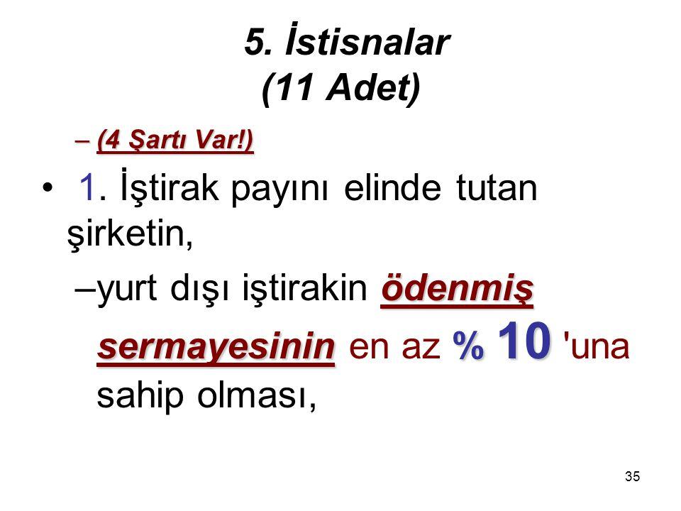 34 5. İstisnalar (11 Adet) 2) Kanunî ve iş merkezi Türkiye'de bulunmayan anonim ve limited şirket niteliğindeki şirketlerin2) Kanunî ve iş merkezi Tür