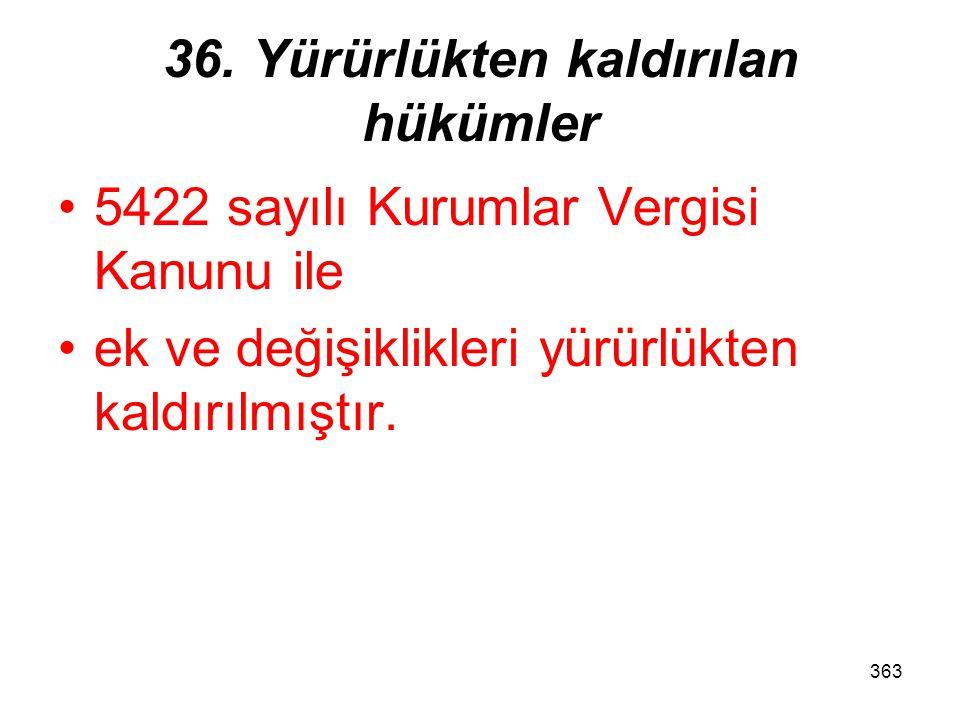 362 35. Muafiyet, istisna ve indirimlerin sınırı Diğer kanunlardaki muafiyet, istisna ve indirimlere ilişkin hükümler, –kurumlar vergisi bakımından ge