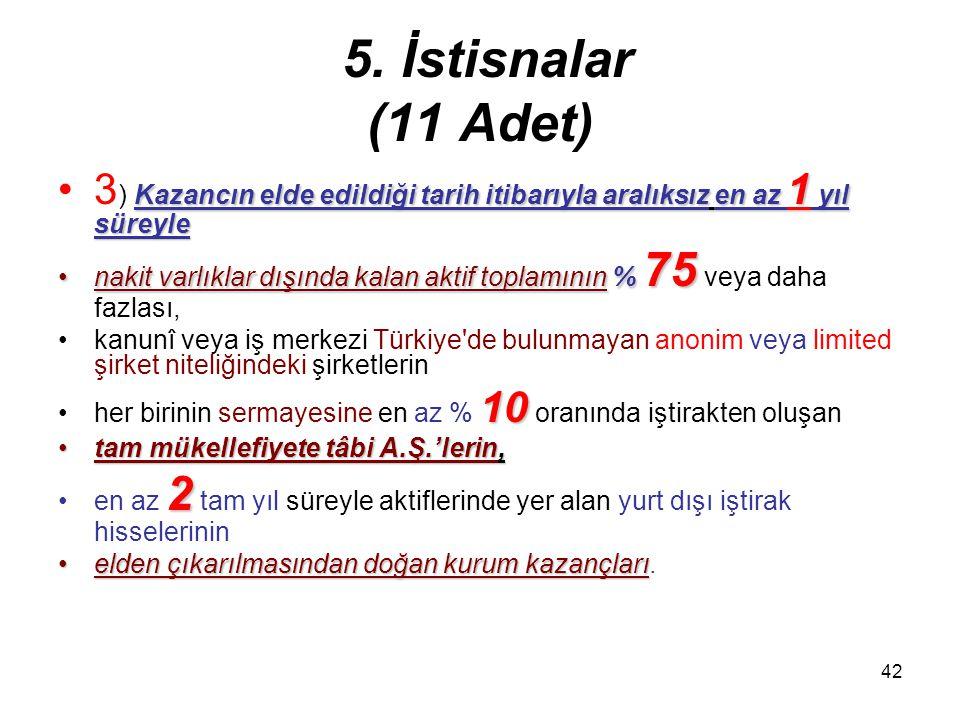 41 5. İstisnalar (11 Adet) –Bu bent uyarınca vergi yükü –Bu bent uyarınca vergi yükü, ilgili dönemde –kanunî veya iş merkezinin bulunduğu ülkede ilgil