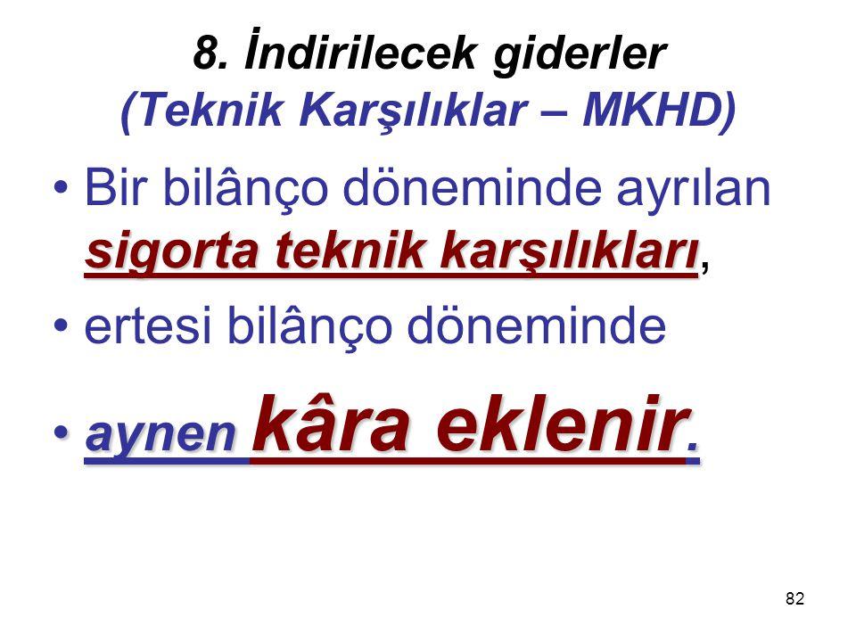 81 8. İndirilecek giderler (Teknik Karşılıklar – MKHD) 4) Dengeleme karşılığı;4) Dengeleme karşılığı; tazminat oranlarındaki dalgalanmaları dengelemek