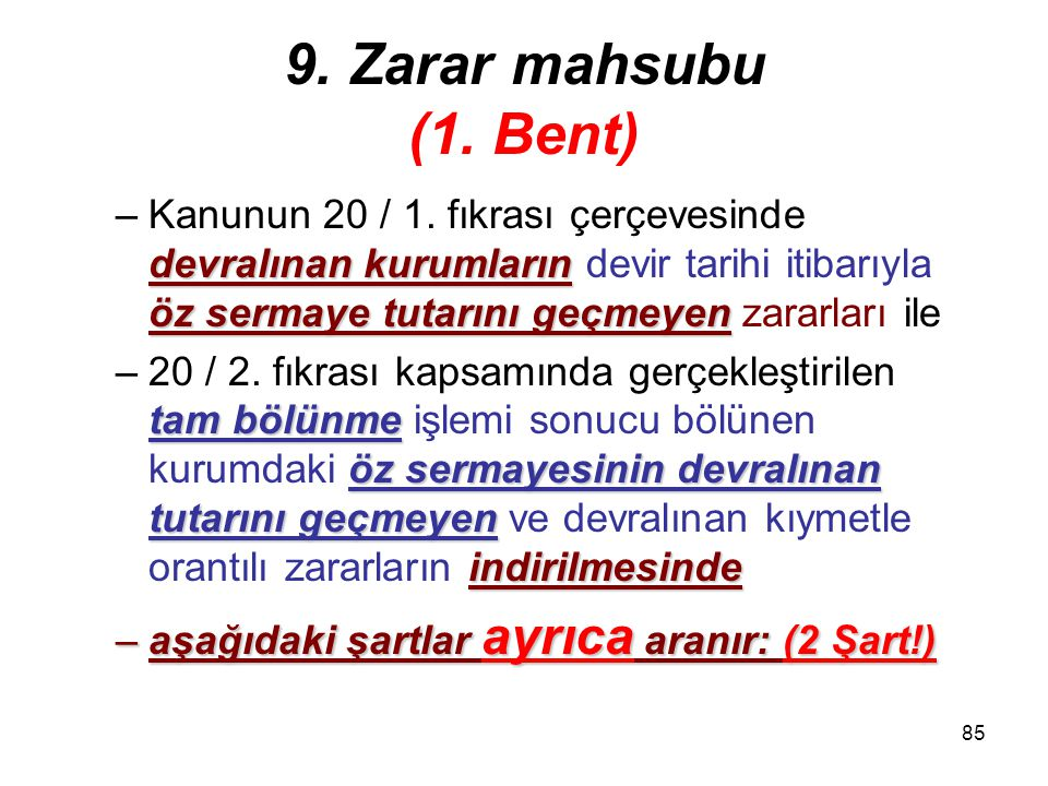 84 9.Zarar mahsubu (1.