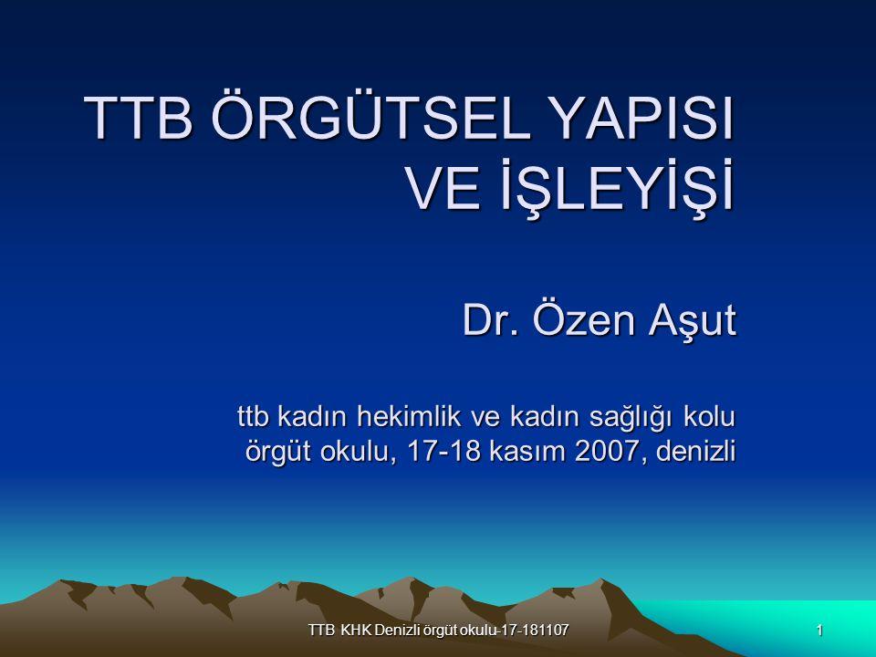 TTB KHK Denizli örgüt okulu-17-1811072 Hekimlerimiz Türkiye de hekimler örgütlülük içinde olmasalar da özgürlükler konusunda her zaman öncü olmuşlar ve bu nedenle de sıklıkla cezalandırılmışlardır Örneğin, 1897 tarihinde Sultan Hamid e Tıbbiye de isyan edilmesi üzerine pek çok tıp öğrencisi ve hekim Fizan a sürülmüştür.