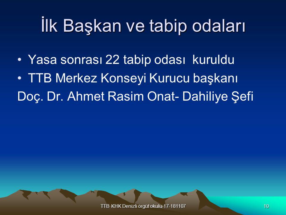 TTB KHK Denizli örgüt okulu-17-18110710 İlk Başkan ve tabip odaları Yasa sonrası 22 tabip odası kuruldu TTB Merkez Konseyi Kurucu başkanı Doç. Dr. Ahm