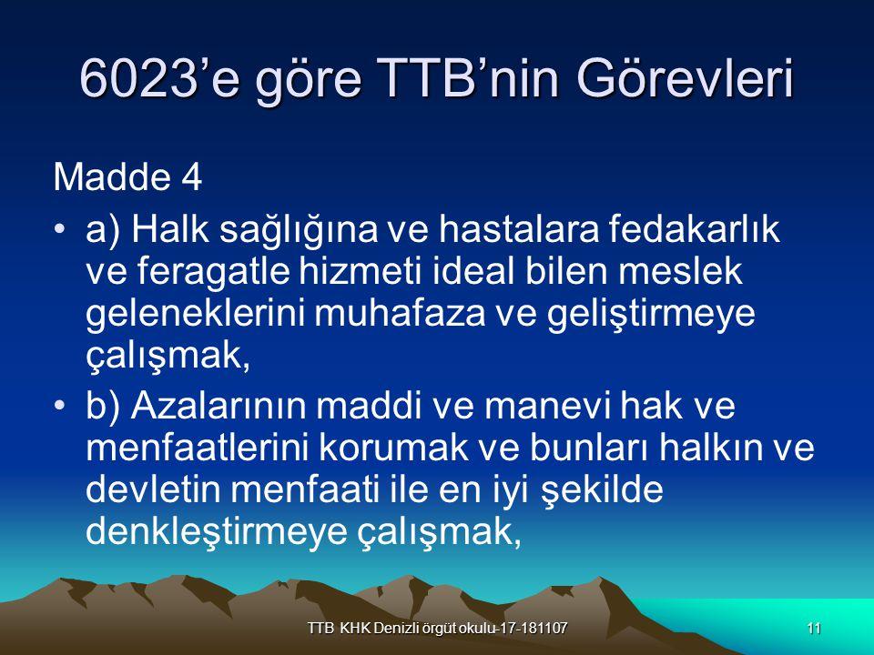 TTB KHK Denizli örgüt okulu-17-18110711 6023'e göre TTB'nin Görevleri Madde 4 a) Halk sağlığına ve hastalara fedakarlık ve feragatle hizmeti ideal bil