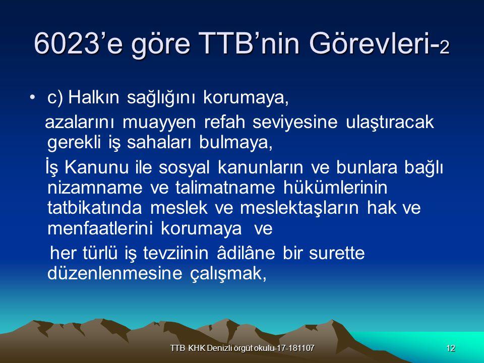 TTB KHK Denizli örgüt okulu-17-18110712 6023'e göre TTB'nin Görevleri- 2 c) Halkın sağlığını korumaya, azalarını muayyen refah seviyesine ulaştıracak