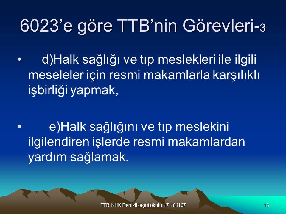 TTB KHK Denizli örgüt okulu-17-18110713 6023'e göre TTB'nin Görevleri- 3 d)Halk sağlığı ve tıp meslekleri ile ilgili meseleler için resmi makamlarla k