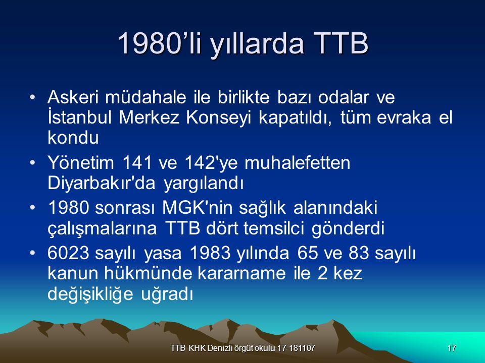 TTB KHK Denizli örgüt okulu-17-18110717 1980'li yıllarda TTB Askeri müdahale ile birlikte bazı odalar ve İstanbul Merkez Konseyi kapatıldı, tüm evraka