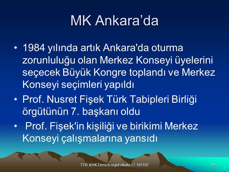 TTB KHK Denizli örgüt okulu-17-18110719 MK Ankara'da 1984 yılında artık Ankara'da oturma zorunluluğu olan Merkez Konseyi üyelerini seçecek Büyük Kongr