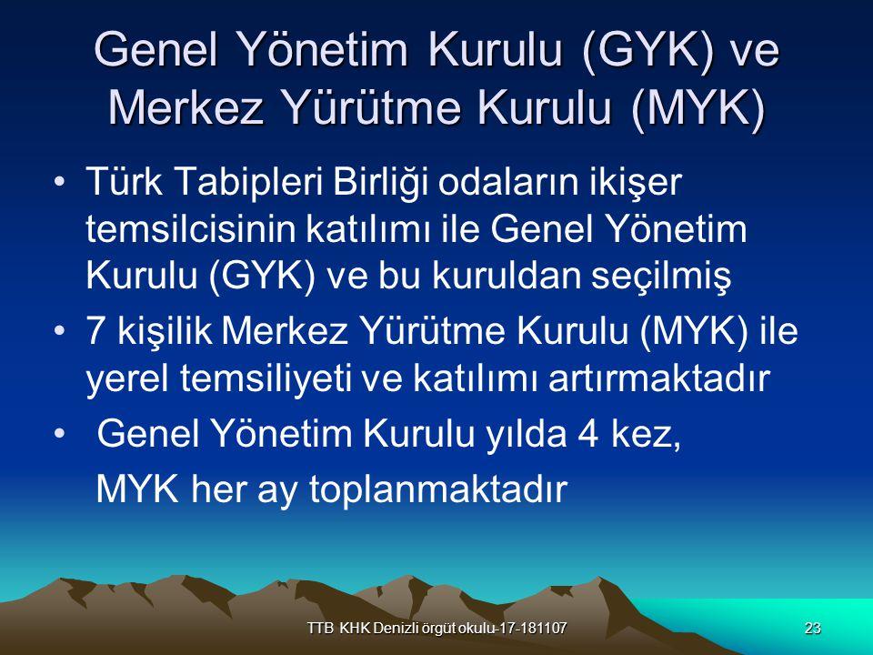 TTB KHK Denizli örgüt okulu-17-18110723 Genel Yönetim Kurulu (GYK) ve Merkez Yürütme Kurulu (MYK) Türk Tabipleri Birliği odaların ikişer temsilcisinin