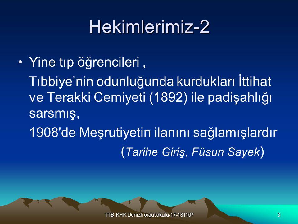 TTB KHK Denizli örgüt okulu-17-1811074 TARİHÇE ETİBBA ODALARI Türkiye de tabip odaları Etibba Odaları adıyla Tababet ve Şuabatı Sanatlarının Tarzı İcrasına Dair 11 Nisan 1928 tarih ve 1219 sayılı kanuna dayalı olarak Etibba Odaları Nizamnamesi ile kurulmuşlardır 1929 yılında ilk İstanbul Etibba Odası kurulmuş ve İstanbul Sıhhiye Müdürü Ali Rıza Bey tarafından düzenlenen ilk seçimde Üçüncü mıntaka Etibba Odası yönetim kurulu üye ve yedekleri belirlenmiştir