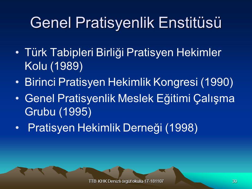 TTB KHK Denizli örgüt okulu-17-18110730 Genel Pratisyenlik Enstitüsü Türk Tabipleri Birliği Pratisyen Hekimler Kolu (1989) Birinci Pratisyen Hekimlik