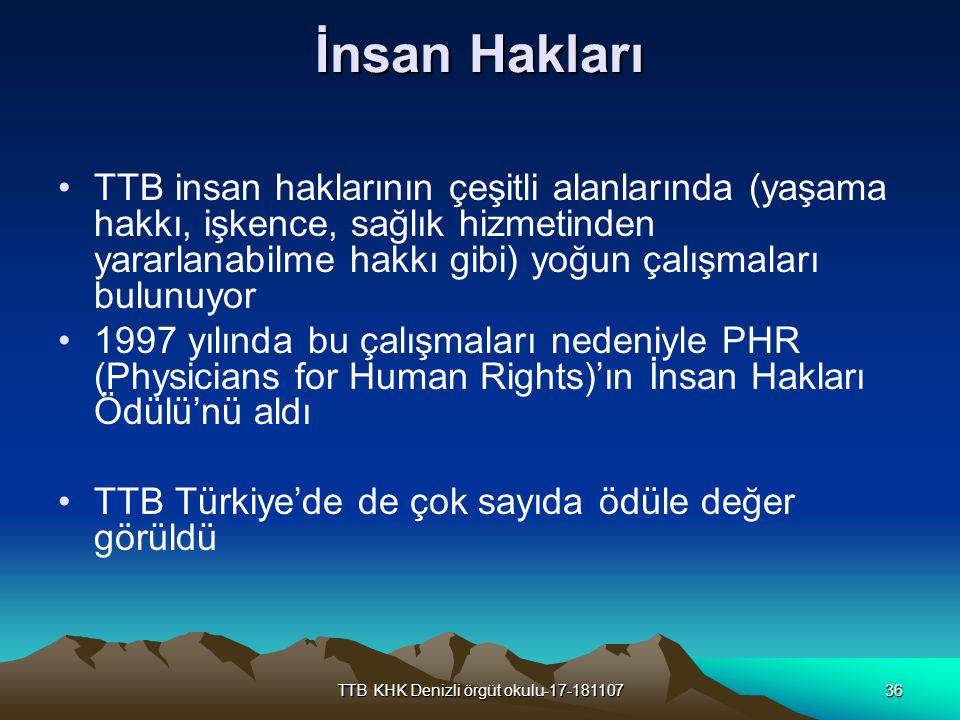 TTB KHK Denizli örgüt okulu-17-18110736 İnsan Hakları TTB insan haklarının çeşitli alanlarında (yaşama hakkı, işkence, sağlık hizmetinden yararlanabil