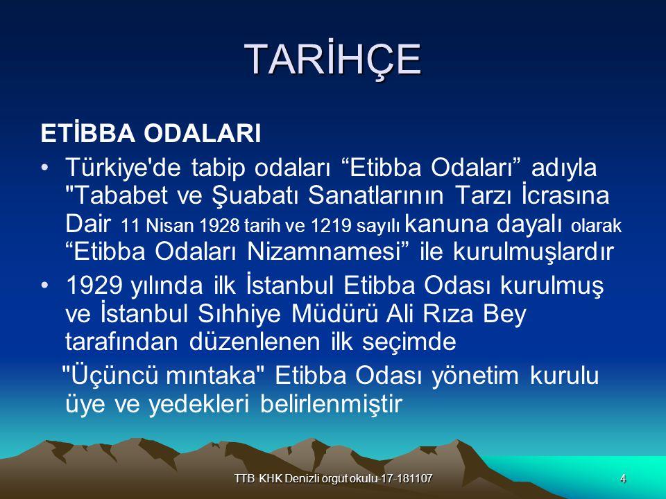"""TTB KHK Denizli örgüt okulu-17-1811074 TARİHÇE ETİBBA ODALARI Türkiye'de tabip odaları """"Etibba Odaları"""" adıyla"""