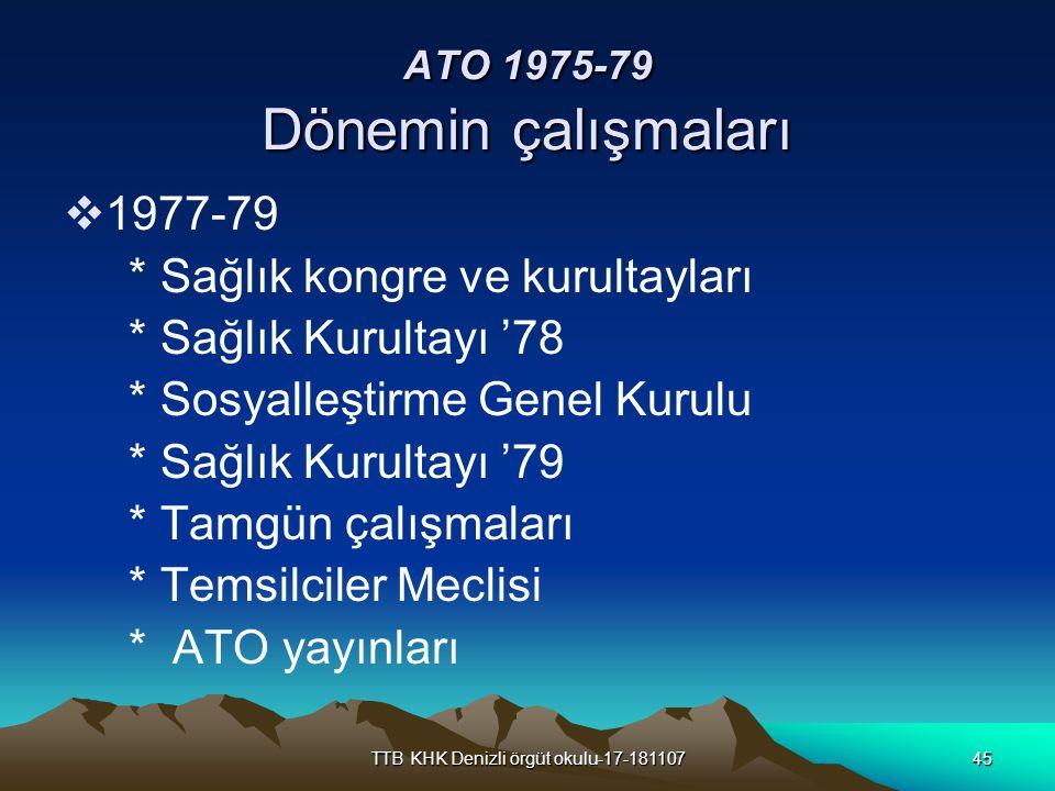 TTB KHK Denizli örgüt okulu-17-18110745 ATO 1975-79 Dönemin çalışmaları  1977-79 * Sağlık kongre ve kurultayları * Sağlık Kurultayı '78 * Sosyalleşti