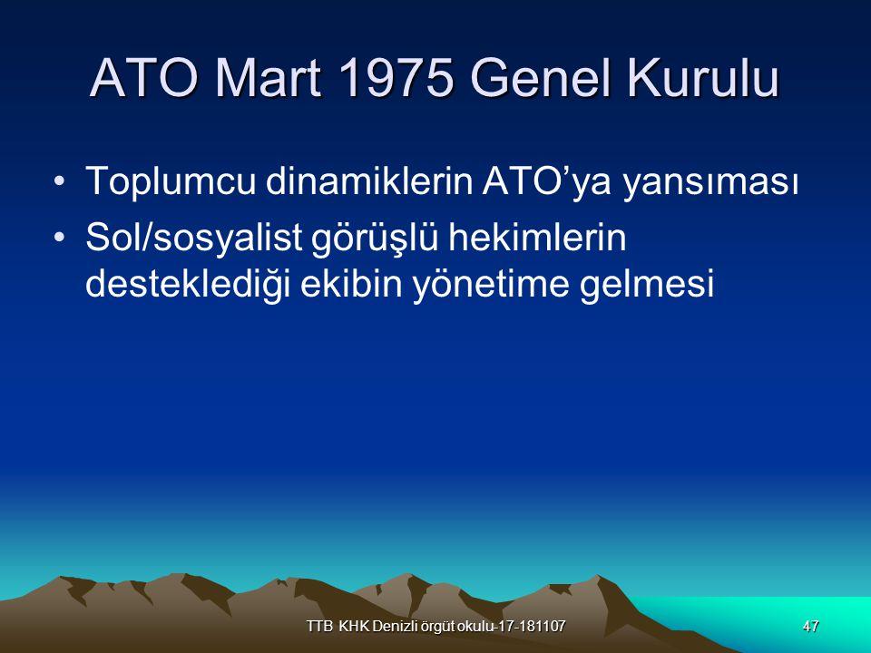 TTB KHK Denizli örgüt okulu-17-18110747 ATO Mart 1975 Genel Kurulu Toplumcu dinamiklerin ATO'ya yansıması Sol/sosyalist görüşlü hekimlerin desteklediğ
