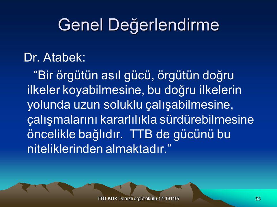 """TTB KHK Denizli örgüt okulu-17-18110753 Genel Değerlendirme Dr. Atabek: """"Bir örgütün asıl gücü, örgütün doğru ilkeler koyabilmesine, bu doğru ilkeleri"""