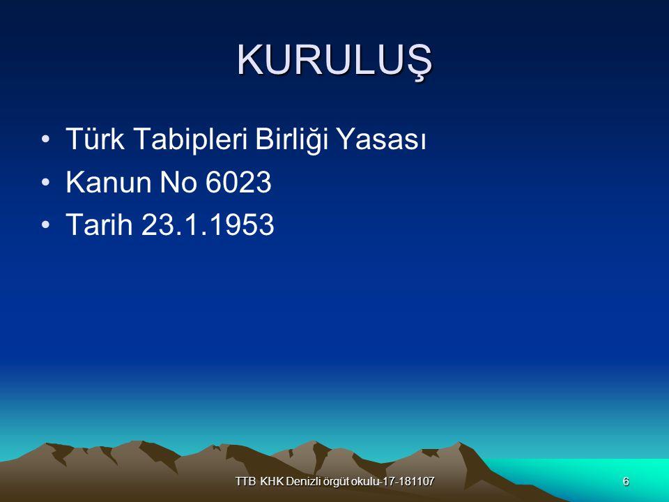 TTB KHK Denizli örgüt okulu-17-1811077 6023 sayılı Türk Tabipleri Birliği Kanunu'nun yürürlüğe girdiği ortam 1953 yılında Türkiye deki hekimlerin dağılımı Memur Asker Serbest Toplam Tabip 3.558 875 2.999 7.432