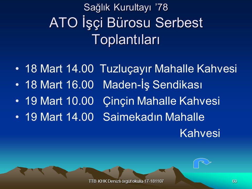 TTB KHK Denizli örgüt okulu-17-18110760 Sağlık Kurultayı '78 ATO İşçi Bürosu Serbest Toplantıları 18 Mart 14.00 Tuzluçayır Mahalle Kahvesi 18 Mart 16.