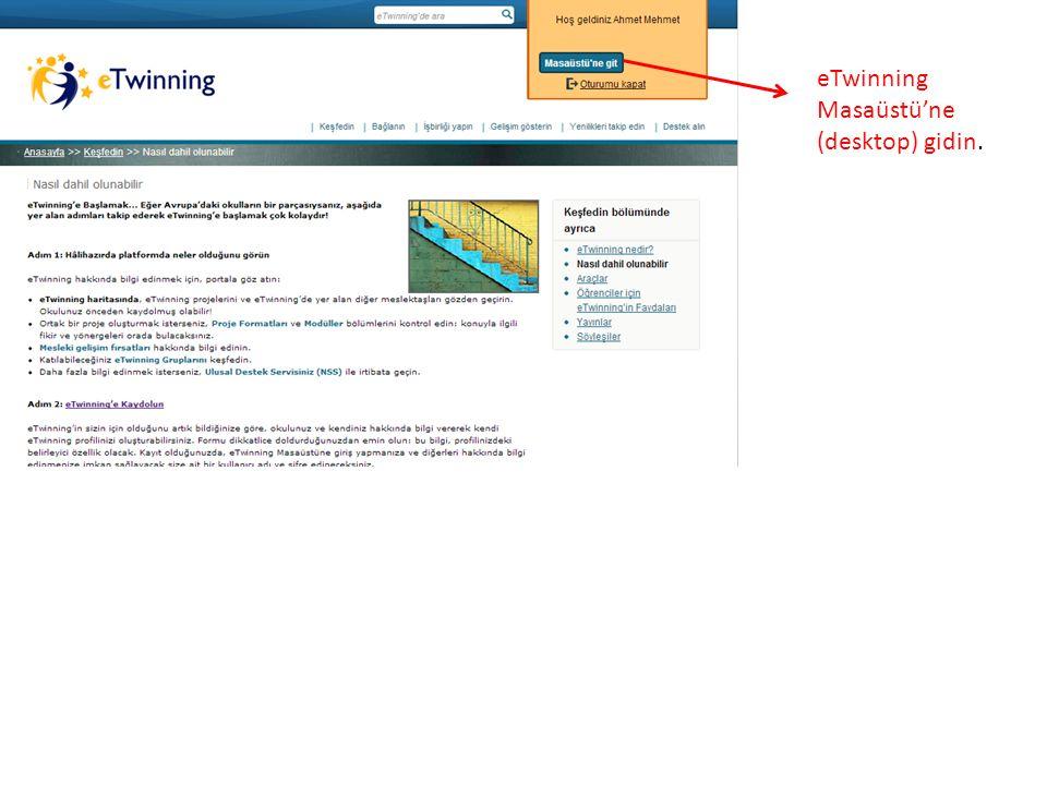 eTwinning Masaüstü Ana Sayfa Yardım Masası Kaynaklar Öğretmenler Odası eTwinciler BulProjelerProfil