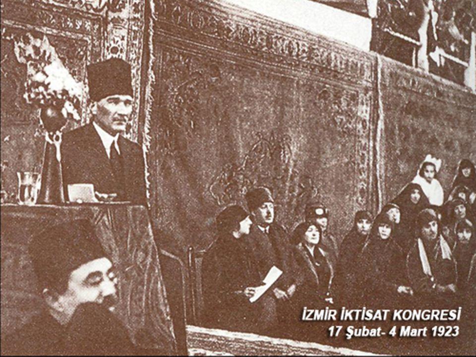 İZMİR İKTİSAT KONGRESİ (17 ŞUBAT-4 MART 1923) 23 Nisan 1920 de Ankara da toplanan Türkiye Büyük Millet Meclisi, 2 Mayıs 1920 de 11 bakandan oluşacak hükümet kuruldu.