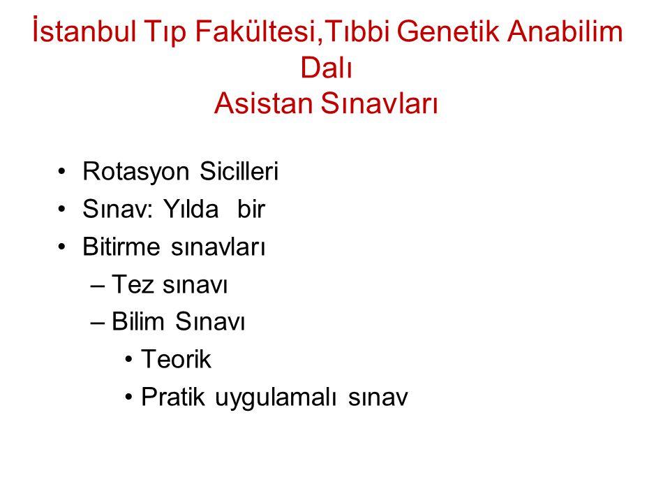 İstanbul Tıp Fakültesi,Tıbbi Genetik Anabilim Dalı Asistan Sınavları Rotasyon Sicilleri Sınav: Yılda bir Bitirme sınavları –Tez sınavı –Bilim Sınavı T