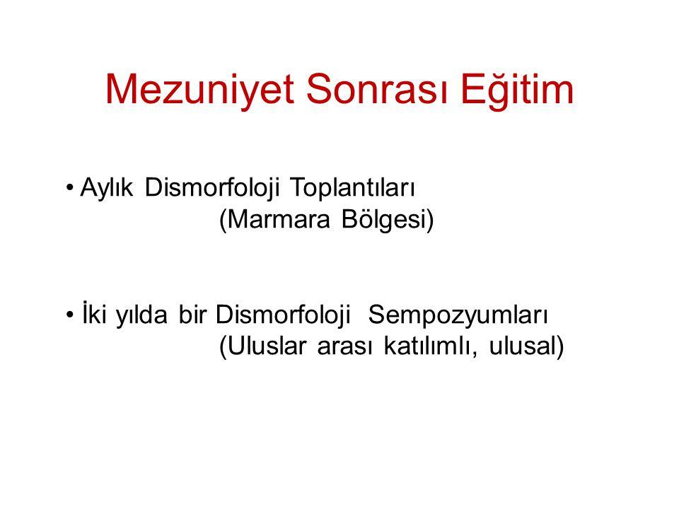 Mezuniyet Sonrası Eğitim Aylık Dismorfoloji Toplantıları (Marmara Bölgesi) İki yılda bir Dismorfoloji Sempozyumları (Uluslar arası katılımlı, ulusal)