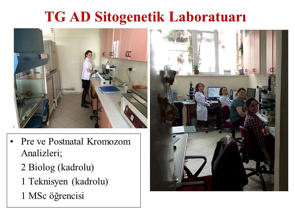 TG AD Sitogenetik Laboratuarı Pre ve Postnatal Kromozom Analizleri; 2 Biolog (kadrolu) 1 Teknisyen (kadrolu) 1 MSc öğrencisi