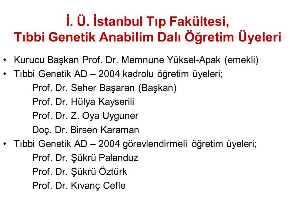 İ. Ü. İstanbul Tıp Fakültesi, Tıbbi Genetik Anabilim Dalı Öğretim Üyeleri Kurucu Başkan Prof. Dr. Memnune Yüksel-Apak (emekli) Tıbbi Genetik AD – 2004