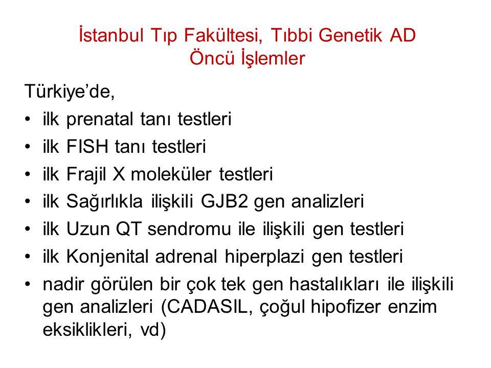 İstanbul Tıp Fakültesi, Tıbbi Genetik AD Öncü İşlemler Türkiye'de, ilk prenatal tanı testleri ilk FISH tanı testleri ilk Frajil X moleküler testleri i