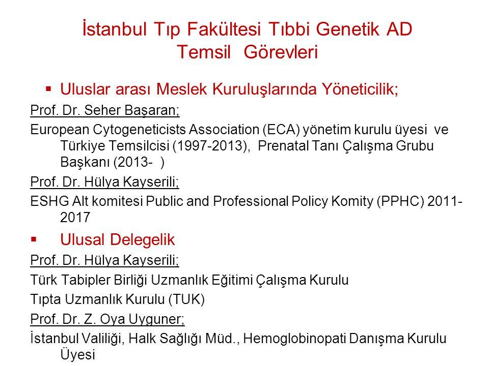 İstanbul Tıp Fakültesi Tıbbi Genetik AD Temsil Görevleri  Uluslar arası Meslek Kuruluşlarında Yöneticilik; Prof. Dr. Seher Başaran; European Cytogene