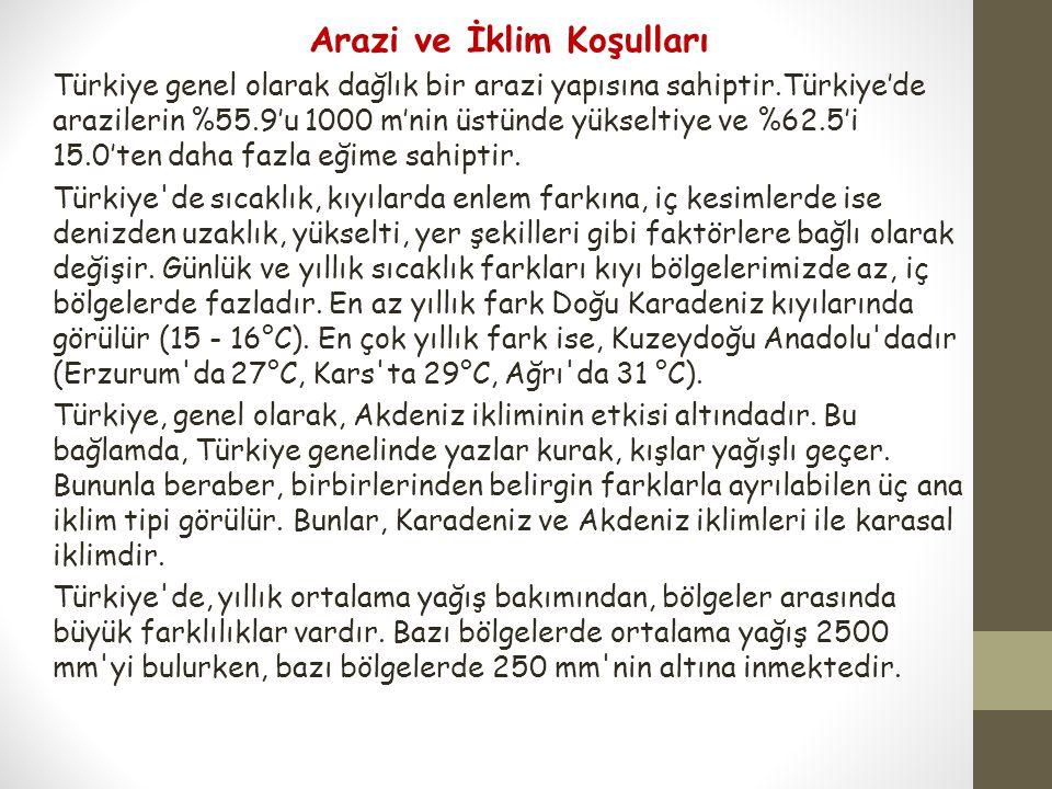 Arazi ve İklim Koşulları Türkiye genel olarak dağlık bir arazi yapısına sahiptir.Türkiye'de arazilerin %55.9'u 1000 m'nin üstünde yükseltiye ve %62.5'
