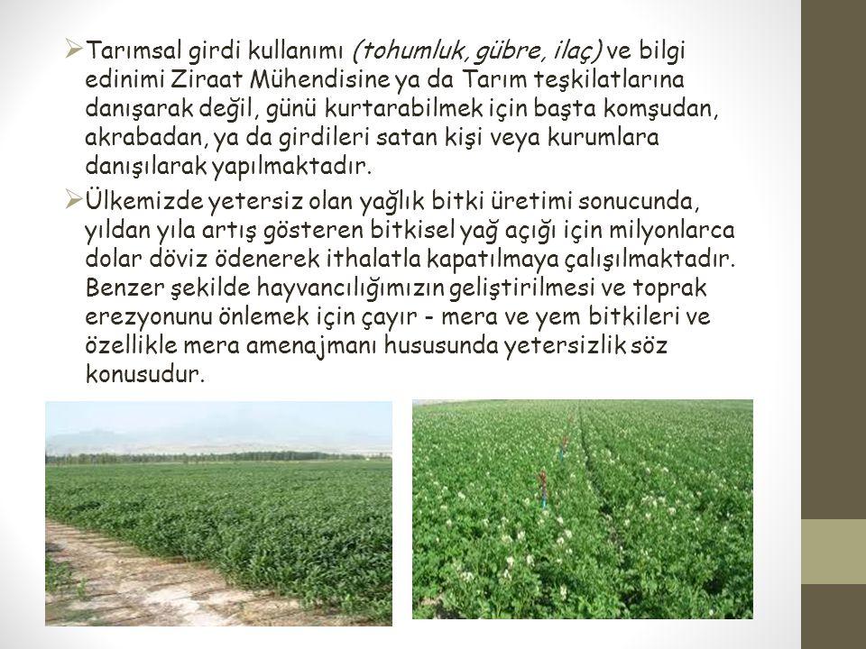  Tarımsal girdi kullanımı (tohumluk, gübre, ilaç) ve bilgi edinimi Ziraat Mühendisine ya da Tarım teşkilatlarına danışarak değil, günü kurtarabilmek