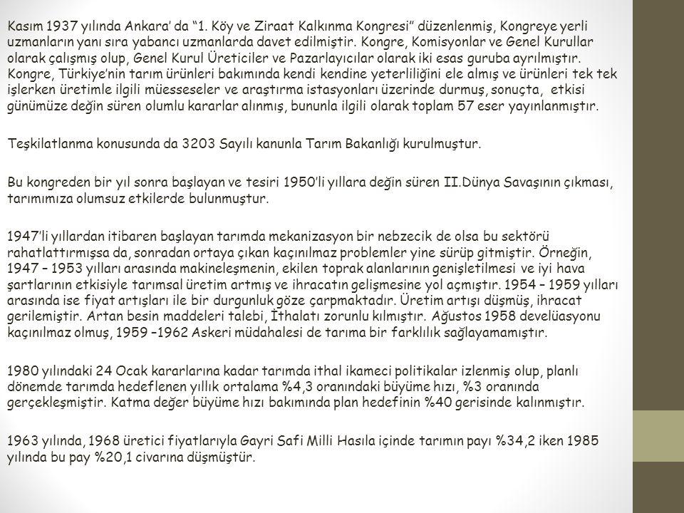 """Kasım 1937 yılında Ankara' da """"1. Köy ve Ziraat Kalkınma Kongresi"""" düzenlenmiş, Kongreye yerli uzmanların yanı sıra yabancı uzmanlarda davet edilmişti"""
