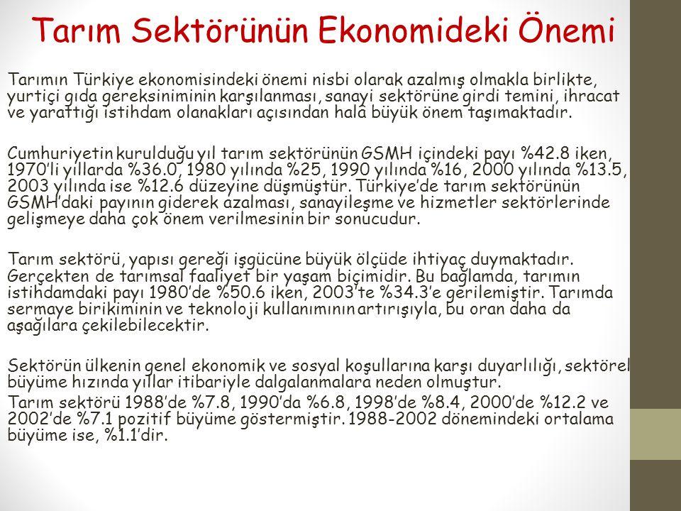 Tarım Sektörünün Ekonomideki Önemi Tarımın Türkiye ekonomisindeki önemi nisbi olarak azalmış olmakla birlikte, yurtiçi gıda gereksiniminin karşılanmas