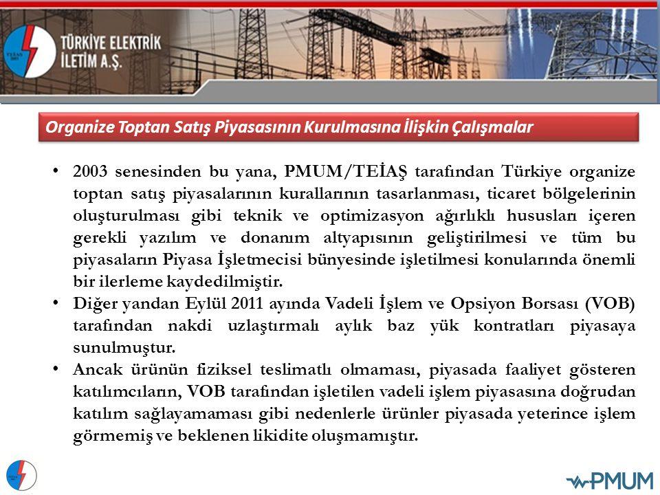 2003 senesinden bu yana, PMUM/TEİAŞ tarafından Türkiye organize toptan satış piyasalarının kurallarının tasarlanması, ticaret bölgelerinin oluşturulma
