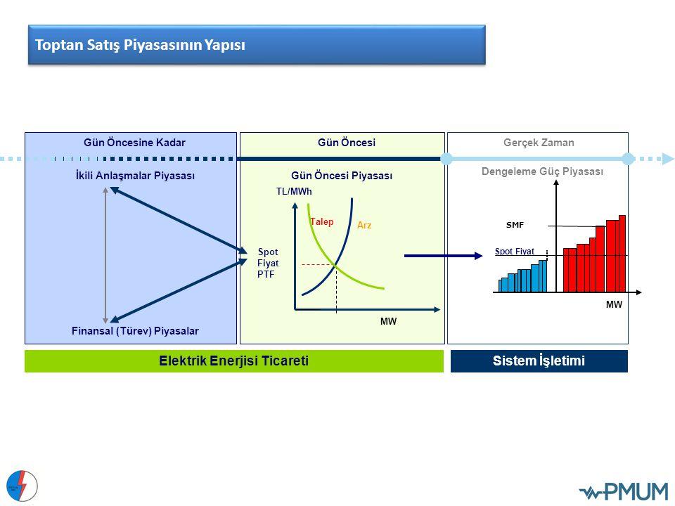 Gün Öncesine KadarGün ÖncesiGerçek Zaman Spot Fiyat SMF MW Gün Öncesi Piyasası Dengeleme Güç Piyasası İkili Anlaşmalar Piyasası Finansal (Türev) Piyas